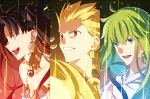1boy 1girl 1other :d black_hair blonde_hair blue_eyes choker column_lineup earrings enkidu_(fate/strange_fake) fate/grand_order fate/stay_night fate/strange_fake fate_(series) gilgamesh green_hair grin ishtar_(fate/grand_order) jewelry long_hair open_mouth rainbow_order red_eyes sen_(77nuvola) smile upper_body yellow_eyes