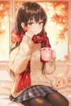 1girl absurdres animal aran_sweater autumn_leaves blue_skirt blurry blurry_background braid brown_hair brown_legwear cat closed_mouth cup depth_of_field french_braid fringe_trim hand_up highres holding holding_cup hot_chocolate leaf long_hair long_sleeves looking_at_viewer maple_leaf miniskirt mug original pantyhose plaid plaid_scarf plaid_skirt pleated_skirt red_scarf scarf sidelocks sitting skirt smile solo sweater tokkyu winter_clothes