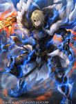 1boy armored_boots aura blonde_hair blue_eyes boots cape clouds dimitri_alexandre_bladud electricity eyepatch fire_emblem fire_emblem:_three_houses fire_emblem_cipher fur_trim gloves hagiya_kaoru official_art polearm solo spear weapon