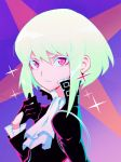 1boy black_gloves black_jacket cravat earrings face gloves green_hair half_gloves highres jacket jewelry lio_fotia liyart looking_at_viewer male_focus portrait promare short_hair solo violet_eyes