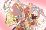 1girl agonasubi aqua_hair black_legwear blue_eyes blurry blurry_foreground blush cherry_blossom_print closed_mouth commentary confetti depth_of_field floral_print grey_skirt hair_ornament hair_ribbon hand_on_own_face hatsune_miku highres japanese_clothes kimono kneehighs leg_up long_hair looking_to_the_side nail_polish pink_nails pinwheel pleated_skirt red_kimono ribbon shadow skirt sleeves_past_wrists solo twintails very_long_hair vocaloid worried