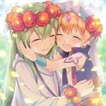 1boy 1other blonde_hair child_gilgamesh closed_eyes earrings enkidu_(fate/strange_fake) fate/grand_order fate/strange_fake fate_(series) flower gilgamesh gilgamesh_(caster)_(fate) green_hair hair_flower hair_ornament happy head_wreath highres hug jewelry long_hair open_mouth shoulder_tattoo tattoo turban upper_body veil vest xacco younger