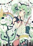 >_< 1girl ahoge animal animal_ears animal_hat bangs black_bow black_footwear black_legwear black_sailor_collar blush boots bow closed_mouth commentary_request diagonal_stripes dress eyebrows_visible_through_hair fake_animal_ears food frilled_dress frills green_bow green_eyes green_hair hair_between_eyes hair_bow hair_ornament hairclip hands_together hands_up hat ice_cream ice_cream_cone interlocked_fingers long_hair mismatched_legwear multicolored_hair original own_hands_together rabbit red_bow red_eyes sailor_collar sailor_dress sakura_oriko sleeveless sleeveless_dress snowman solo spoon streaked_hair striped striped_legwear thigh-highs tongue tongue_out twintails white_bow white_dress white_hair white_headwear white_legwear