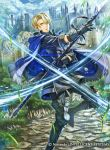 1boy armored_boots belt blonde_hair blue_eyes boots castle clouds dimitri_alexandre_bladud fire_emblem fire_emblem:_three_houses fire_emblem_cipher gloves grass official_art polearm rock sky solo sparkle spear teeth weapon
