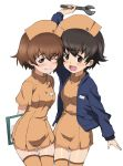 2girls :d ;) alternate_costume arm_up arms_behind_back bangs blue_jacket blush brown_eyes brown_hair clipboard closed_mouth cowboy_shot dress eyebrows_visible_through_hair freckles girls_und_panzer half-closed_eye hat highres holding holding_clipboard holding_wrench jacket kayabakoro leaning_forward long_sleeves looking_at_viewer multiple_girls nakajima_(girls_und_panzer) name_tag nurse_cap object_behind_back one_eye_closed open_mouth orange_dress orange_headwear orange_legwear paw_print short_dress short_hair simple_background smile thigh-highs translated tsuchiya_(girls_und_panzer) white_background