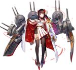 1girl aiguillette azur_lane bike_shorts black_gloves breasts brown_hair brown_legwear chain closed_mouth coat curled_horns double-breasted epaulettes flower fuji_choko full_body garter_straps gloves hair_flower hair_ornament jacket_on_shoulders katana long_hair looking_at_viewer machinery medium_breasts military military_uniform mismatched_legwear official_art open_clothes open_coat pantyhose pleated_skirt rudder_footwear sheath sheathed shirt side_slit single_thighhigh skirt solo standing suruga_(azur_lane) sword tachi-e thigh-highs transparent_background turret uniform violet_eyes weapon white_coat white_shirt white_skirt wing_collar