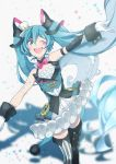 1girl agonasubi aqua_eyes aqua_hair armpits asymmetrical_sleeves bare_shoulders bow bowtie circus collar commentary cowboy_shot diamond_(shape) facial_tattoo framed_breasts frilled_collar frilled_skirt frills gloves hair_ornament hat hatsune_miku highres long_hair magical_mirai_(vocaloid) mini_hat mini_top_hat mismatched_legwear one_eye_closed open_mouth outstretched_arms shadow shoulder_blush skirt smile solo striped striped_legwear tattoo thigh-highs top_hat twintails very_long_hair vocaloid white_gloves white_skirt wrist_cuffs zettai_ryouiki