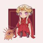 1girl axe blonde_hair blue_eyes blush cape chibi crown edelgard_von_hresvelg fire_emblem fire_emblem:_three_houses gloves hair_ornament highres horns long_hair looking_at_viewer m1n0f2e1 red_cape simple_background solo