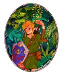 1boy absurdres belt belt_pouch blonde_hair blue_eyes copyright_name dappled_sunlight forest green_headwear highres link nature okada_(hoooojicha) pointy_ears pouch rainforest sheath sheathed shield sidelocks signature solo sunlight sword sword_behind_back the_legend_of_zelda the_legend_of_zelda:_link's_awakening tunic weapon