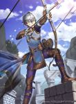 1boy arrow ashe_duran belt boots bow_(weapon) clouds fingerless_gloves fire_emblem fire_emblem:_three_houses fire_emblem_cipher gloves green_eyes grey_hair kyo_niku official_art quiver sky solo tree weapon