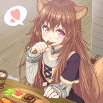 1girl animal_ear_fluff animal_ears blush brown_hair collar collarbone commentary_request cup eating food heart long_hair long_sleeves looking_at_viewer masaki_shino pink_eyes plate raccoon_ears raccoon_tail raphtalia solo spoken_heart spoon tail tate_no_yuusha_no_nariagari twitter_username