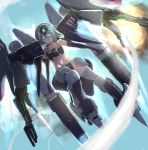 1girl aqua_eyes aqua_hair byalant_custom commentary elbow_gloves gloves glowing glowing_eyes gundam gundam_unicorn headgear highres jetpack looking_at_viewer mecha_musume mobile_suit_gundam navel personification science_fiction solo user_rgcc3848
