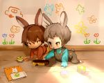 2boys animal_ears baby blush brown_eyes bunny_tail bunnyboy eyebrows_visible_through_hair full_body grey_hair hair_between_eyes highres male_focus multiple_boys original overalls playing rabbit_ears shirokujira smile tail toy