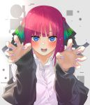 1girl absurdres bangs black_cardigan black_ribbon black_sweater blue_eyes blunt_bangs blush butterfly_hair_ornament cardigan collared_shirt commentary_request dress_shirt go-toubun_no_hanayome hair_ornament hair_ribbon highres kesuno looking_at_viewer multicolored multicolored_nails nail_polish nakano_nino open_cardigan open_clothes open_mouth outstretched_hand pink_hair ribbon shirt short_hair sweater white_shirt