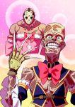 2boys a_nightmare_on_elm_street bare_shoulders blush chiyoda_momo chiyoda_momo_(cosplay) claws cosplay crossdressing detached_sleeves freddy_krueger friday_the_13th highres hiroshix31 hockey_mask jason_voorhees machikado_mazoku magical_girl multiple_boys scar sparkle_background teeth yoshida_yuuko_(machikado_mazoku) yoshida_yuuko_(machikado_mazoku)_(cosplay)