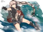 1girl black_gloves black_jacket brown_eyes commentary_request dated gegeron gloves grey_sailor_collar grey_skirt gun hair_flaps highres jacket kantai_collection long_hair machinery motion_blur neck_ribbon pink_hair red_ribbon remodel_(kantai_collection) ribbon sailor_collar school_uniform serafuku short_sleeves side_ponytail skirt solo twitter_username very_long_hair weapon yura_(kantai_collection)