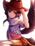 1girl absurdres arm_up bangs black_hair black_wings blue_shirt boots brown_footwear brown_headwear brown_skirt commentary cowboy_hat feathered_wings grin hair_between_eyes hand_on_headwear hat highres kurokoma_saki looking_at_viewer mozuno_(mozya_7) off_shoulder plaid pleated_skirt puffy_short_sleeves puffy_sleeves red_eyes shirt short_hair short_sleeves simple_background sitting skirt smile solo tail touhou wariza white_background wings