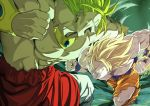 2boys after_(artist) aura blonde_hair bracelet broly clenched_hands clenched_teeth dragon_ball earrings green_eyes highres jewelry legendary_super_saiyan long_hair male_focus motion_blur multiple_boys muscle necklace open_mouth punching son_gokuu spiky_hair super_saiyan teeth torn_clothes white_eyes yellow_pupils