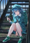 1girl :t backpack bag bangs blue_eyes blue_hair blue_headwear blue_jacket blue_skirt blue_sky breasts cabbie_hat commentary_request cucumber day food green_footwear hair_between_eyes hair_bobbles hair_ornament hat holding holding_food jacket kawashiro_nitori key knees_up lake long_sleeves looking_at_viewer miniskirt outdoors pocket railing roke_(taikodon) shoes short_hair sitting skirt skirt_set sky small_breasts smile sneakers solo stairs touhou two_side_up water