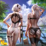 2girls absurdres arm_strap ass back back_cutout bare_shoulders bikini black_bikini black_blindfold black_hairband black_sarong black_swimsuit blindfold blue_sky blurry blurry_background blurry_foreground closed_mouth clouds cup day facing_another floating_hair hairband hand_behind_head hat hat_removed head_tilt headwear_removed highleg highleg_swimsuit highres holding holding_hat leaning_on_rail liang_xing long_hair multicolored multicolored_clothes multicolored_swimsuit multiple_girls nier_(series) nier_automata outdoors paid_reward palm_tree patreon_reward poolside sarong see-through short_hair shoulder_blades silver_hair skindentation sky swimsuit thigh_strap tree wet white_hair white_sarong white_swimsuit wind yorha_no._2_type_b yorha_type_a_no._2