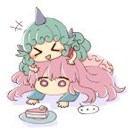 >_< ... 2girls :d bangs blue_shirt blush_stickers cake commentary curly_hair english_commentary eyebrows_visible_through_hair food girl_on_top green_hair hata_no_kokoro horn komano_aun long_hair long_sleeves lying multiple_girls on_stomach open_mouth pink_eyes pink_hair pink_skirt plate red_shirt shirt simple_background skirt smile spoken_ellipsis touhou white_background wool_(miwol)