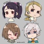 2boys 2girls ;d akechi_gorou bangs black_hair blonde_hair blue_eyes brown_eyes brown_hair character_name character_request chibi closed_mouth copyright_name cropped_shoulders do_m_kaeru eyebrows_visible_through_hair face grey_background grey_hair low_ponytail megido72 metal_gear_(series) metal_gear_solid_3 multiple_boys multiple_girls one_eye_closed open_mouth persona persona_5 ponytail serious shaded_face simple_background smile suzui_shiho the_boss twitter_username