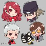 00s 10s 1girl 3boys 90s :d animal aragaki_shinjirou atlus bandaid bandaid_on_face beanie black_eyes black_headwear blazer bow bowtie brown_hair cat character_name chibi closed_mouth copyright_name cropped_shoulders do_m_kaeru eyebrows_visible_through_hair eyes_visible_through_hair face grey_background grey_hair grey_jacket hair_between_eyes hair_over_one_eye hat human jacket kirijou_mitsuru long_hair long_sleeves looking_at_viewer megami_tensei moe morgana_(persona_5) multiple_boys necktie open_mouth persona persona_2 persona_3 persona_5 red_bow red_eyes red_neckwear red_shirt redhead sanada_akihiko shin_megami_tensei shirt simple_background smile sunglasses suou_katsuya sweat thumbs_up tinted_eyewear twitter_username