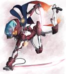1girl ass commentary cyborg dual_wielding energy_sword headband highres holding mecha mecha_musume ninja original red_eyes scarf science_fiction solo sword user_rgcc3848 visor_(armor) weapon