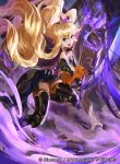 1girl alice_(fire_emblem) blonde_hair blue_eyes book boots cape curly_hair fire_emblem fire_emblem_cipher gloves horse long_hair mayo_(becky2006) official_art open_mouth solo sword teeth tiara weapon