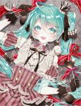 1055 1girl :d absurdres ahoge aqua_eyes aqua_hair beige_shirt black_gloves black_ribbon buttons candy center_frills chocolate collared_shirt commentary crown detached_sleeves food frilled_shirt_collar frilled_sleeves frills gloves hair_between_eyes hair_ribbon hand_up hatsune_miku heart-shaped_food heart_lollipop high-waist_skirt highres holding holding_food jewelry lace lace-trimmed_gloves light_particles lollipop long_hair mini_crown neck_ribbon necklace open_mouth pink_skirt puffy_detached_sleeves puffy_short_sleeves puffy_sleeves red_ribbon ribbon shirt short_sleeves skirt smile solo striped tilted_headwear twintails upper_body valentine vertical-striped_skirt vertical_stripes vocaloid