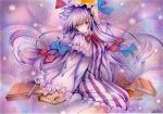 1girl artist_name blue_bow blue_ribbon blush book bow commentary_request dated dress frilled_sleeves frills hair_bow hat hat_ribbon long_dress long_hair long_sleeves mob_cap mosho patchouli_knowledge purple_background purple_dress purple_hair red_bow red_ribbon ribbon socks solo striped striped_dress touhou traditional_media very_long_hair violet_eyes