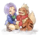 1boy blush cold green_eyes growlithe kojirou_(pokemon) lowres pokemon pokemon_(anime) scarf shared_scarf snow team_rocket younger