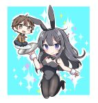 1boy 1girl :d absurdres animal_ears azusagawa_sakuta bangs bare_shoulders between_legs black_footwear black_hair black_hairband black_legwear black_leotard black_neckwear blue_background blue_pants blush bow bowtie breasts brown_eyes brown_hair brown_jacket brown_legwear bunny_girl bunny_hair_ornament bunny_tail bunnysuit chibi closed_mouth collar collared_shirt commentary_request detached_collar eyebrows_visible_through_hair fake_animal_ears full_body hair_between_eyes hair_ornament hairband hairclip hand_between_legs high_heels highres holding holding_tray jacket jako_(jakoo21) leotard long_hair looking_at_viewer medium_breasts necktie open_mouth outline pants pantyhose plate rabbit_ears red_neckwear sakurajima_mai seishun_buta_yarou shirt shoes smile socks sparkle_background strapless strapless_leotard tail tray two-tone_background very_long_hair violet_eyes white_background white_collar white_outline white_shirt wrist_cuffs