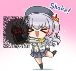 >_< 1girl asimo953 bangs beret blush brand_name_imitation breasts buttons chibi cola commentary_request employee_uniform epaulettes eyebrows_visible_through_hair fluttering_heart_illusion frilled_sleeves frills full_body gloves gradient gradient_background hat jacket kantai_collection kashima_(kantai_collection) kerchief kneehighs long_hair long_sleeves optical_illusion pleated_skirt shaking sidelocks silver_hair simple_background skirt smile soda_bottle solo twintails uniform wavy_hair white_gloves white_jacket