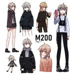 6+girls absurdres alternate_costume alternate_hair_color brown_hair character_name girls_frontline grey_hair highres hood hoodie long_legs m200_(girls_frontline) monster_energy multiple_girls multiple_persona nasa pants shoes skirt sneakers sweater tin_can torn_clothes torn_pants waffle_drink