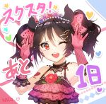 1girl apple_caramel black_hair bow character_name dress earrings flower gloves hair_ornament hairclip heart heart_tattoo jewelry love_live! love_live!_school_idol_project nico_nico_nii one_eye_closed pink_dress pink_gloves pose red_eyes short_hair smile solo star tattoo twintails upper_body white_background yazawa_nico