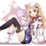 1girl :d aa_(sin2324) azur_lane bangs black_choker black_legwear black_shorts blue_legwear blue_shirt blush boots choker cleveland_(azur_lane) collarbone commentary_request english_text eyebrows_visible_through_hair food hair_between_eyes hamburger headphones highres holding holding_food jacket long_hair long_sleeves looking_at_viewer open_clothes open_jacket open_mouth parted_bangs puffy_long_sleeves puffy_sleeves red_eyes shirt short_shorts shorts single_sock single_thighhigh sleeves_past_wrists smile socks solo star thigh-highs very_long_hair visor_cap white_footwear white_headwear white_jacket