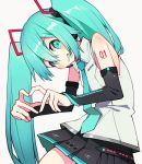 1girl bangs bare_shoulders black_skirt blue_eyes blue_hair blue_neckwear blush clenched_teeth cowboy_shot detached_sleeves fingers_together flat_chest grin hair_between_eyes hatsune_miku hatsune_miku_(vocaloid4) head_tilt heart heart_hands highres hirokawa_desu leaning leaning_forward long_hair looking_at_viewer necktie no_nose number_tattoo shirt shoulder_tattoo simple_background skirt sleeveless sleeveless_shirt smile solo tattoo teeth thighs twintails very_long_hair vocaloid white_background white_shirt