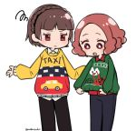 2girls :o bangs black_pants blue_pants blunt_bangs braid brown_eyes brown_hair closed_mouth collared_shirt cowboy_shot crown_braid do_m_kaeru flat_color long_sleeves looking_at_another multicolored multicolored_clothes multicolored_sweater multiple_girls niijima_makoto okumura_haru open_mouth outstretched_arms pants persona persona_5 red_shirt shirt short_hair simple_background squiggle sweater twitter_username white_background white_shirt wing_collar