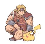 1boy 1other :3 akiyoku animal armor belt blonde_hair castlevania closed_eyes creatures_(company) game_freak gen_1_pokemon gloves headband highres human konami long_hair male_focus mouse muscle nintendo olm_digital petting pikachu pokemon pokemon_(anime) pokemon_(creature) pokemon_(game) pokemon_frlg pokemon_rgby short_hair simon_belmondo simple_background smile sora_(company) super_smash_bros. weapon