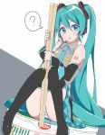 ? aqua_eyes aqua_hair aqua_nails aqua_neckwear bare_shoulders belt black_legwear black_skirt blush chopsticks commentary cup_noodle detached_sleeves grey_shirt hair_ornament hatsune_miku headphones headset highres holding holding_chopsticks knees_together_feet_apart knees_up long_hair looking_at_viewer minigirl nail_polish necktie nissin noodle_stopper open_mouth panties ramen shirt shoulder_tattoo sitting skirt sleeveless sleeveless_shirt speech_bubble spoken_question_mark striped striped_panties supo01 tattoo thigh-highs twintails underwear very_long_hair vocaloid