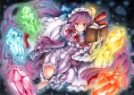 1girl artist_name bangs blue_bow blue_ribbon blunt_bangs book bow commentary_request crescent dated dress frilled_sleeves frills gem hair_bow hat hat_ribbon holding holding_book long_hair long_sleeves mob_cap mosho open_mouth patchouli_knowledge purple_dress purple_hair red_bow red_eyes red_ribbon ribbon socks solo striped striped_dress touhou traditional_media very_long_hair