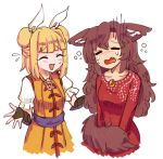 2girls :d =_= ^_^ alternate_costume animal_ears bangs black_gloves blonde_hair blunt_bangs blush breasts bridal_gauntlets brooch brown_hair closed_eyes commentary_request cowboy_shot crying double_bun dress ears_down english_commentary eyebrows_visible_through_hair fang flying_sweatdrops gloves hair_ribbon haniwa_(statue) imaizumi_kagerou jewelry joutouguu_mayumi juliet_sleeves long_hair long_sleeves multiple_girls nose_blush open_mouth pendant puffy_short_sleeves puffy_sleeves purple_sash red_dress ribbon sash short_hair short_sleeves simple_background small_breasts smile standing tail tears touhou vambraces white_background white_ribbon wolf_ears wolf_tail wool_(miwol) yellow_dress