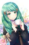 1girl artist_name blush bow cup drill_hair fire_emblem fire_emblem:_three_houses flayn_(fire_emblem) flower green_eyes green_hair hair_ornament hairclip leaf long_hair smk023 solo sparkle star star-shaped_pupils symbol-shaped_pupils teacup upper_body white_background
