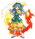 1girl :d alphes_(style) apron arm_ribbon between_fingers blue_hair blue_ribbon chisel commentary_request dairi dress eyebrows_visible_through_hair fire flower full_body green_apron haniyasushin_keiki head_scarf highres jewelry long_hair looking_at_viewer magatama magatama_necklace necklace open_mouth parody pocket puffy_short_sleeves puffy_sleeves ribbon sandals short_sleeves smile solo standing style_parody tachi-e tools touhou transparent_background violet_eyes yellow_dress