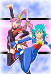allenby_beardsley blue_bodysuit blue_hair bodysuit breasts closed_mouth commentary_request covered_navel g_gundam gloves graphite_(medium) green_eyes groin gundam long_hair looking_at_viewer millipen_(medium) mobile_trace_suit multicolored multicolored_bodysuit multicolored_clothes multiple_girls onnaski open_mouth red_bodysuit short_hair skin_tight smile traditional_media