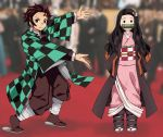 1boy 1girl artist_name asa_no_ha_(pattern) bamboo bangs bit_gag black_eyes black_jacket black_legwear black_pants blurry blurry_background brother_and_sister checkered checkered_obi english_commentary forehead gag hair_ribbon haori highres jacket japanese_clothes kamado_nezuko kamado_tanjirou kimetsu_no_yaiba kimono long_hair meme multicolored_hair obi outstretched_arms pants photo_background pink_kimono pink_ribbon pointing_at_another redhead ribbon sash scar siblings solid_circle_eyes standing twitter_username two-tone_hair very_long_hair wide_sleeves will_smith yanafian zouri