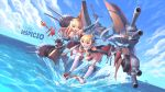 2girls :d :o absurdres anchor_symbol azur_lane bare_shoulders blonde_hair blue_eyes boots cannon cleavage_cutout clouds crown detached_collar dutch_angle epaulettes flat_chest full_body gloves hair_ears hairband highres latin_text mecha_musume mini_crown multiple_girls mystic-san ocean open_mouth queen_elizabeth_(azur_lane) rigging rivets scarf scepter skirt sky smile splashing striped striped_hairband text_focus thigh-highs violet_eyes warspite_(azur_lane) water white_gloves white_scarf
