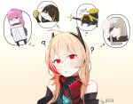 1girl ? artist_name bare_shoulders black_hair blonde_hair boca eating eyepatch girls_frontline green_hair hair_between_eyes headgear highres imagining long_hair m16a1_(girls_frontline)_(boss) m4_sopmod_ii_(girls_frontline) m4a1_(girls_frontline) medium_hair multicolored_hair pink_hair red_eyes redhead ro635_(dinergate) sangvis_ferri st_ar-15_(girls_frontline) streaked_hair thought_bubble