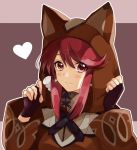 1girl animal_ears artist_request bangs blush cat_ears earrings fingerless_gloves gloves hair_ornament homura_(xenoblade_2) hood jewelry looking_at_viewer red_eyes redhead rex_(xenoblade_2) robe short_hair simple_background smile solo xenoblade_(series) xenoblade_2